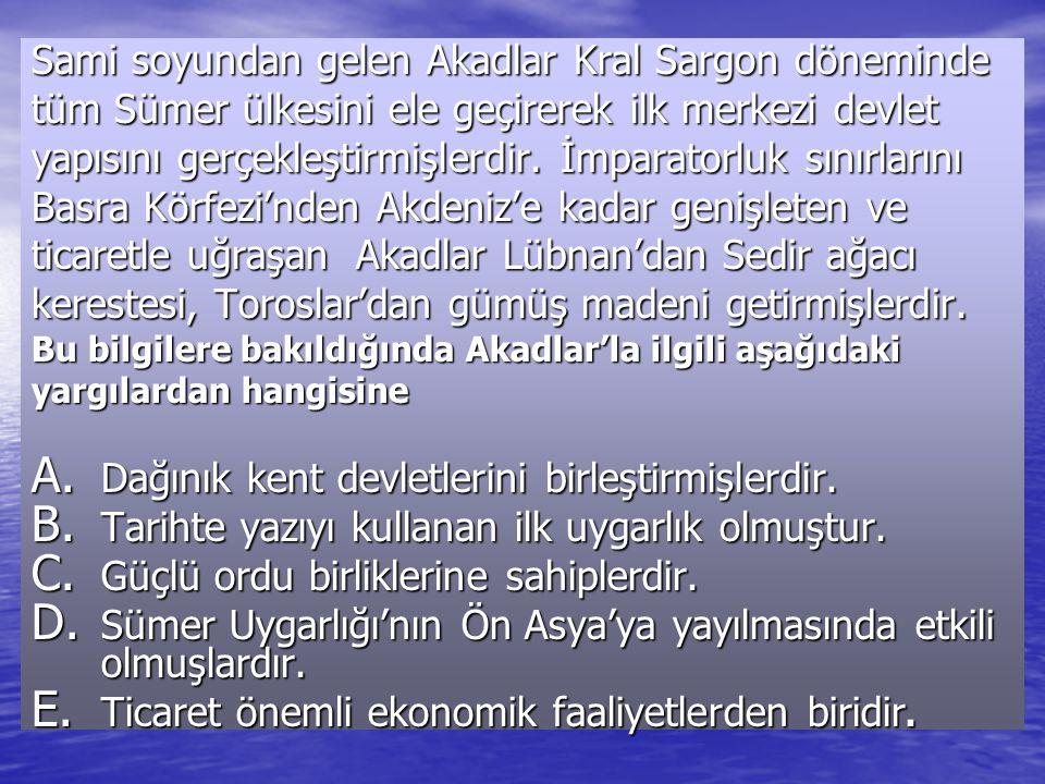 Sami soyundan gelen Akadlar Kral Sargon döneminde tüm Sümer ülkesini ele geçirerek ilk merkezi devlet yapısını gerçekleştirmişlerdir.