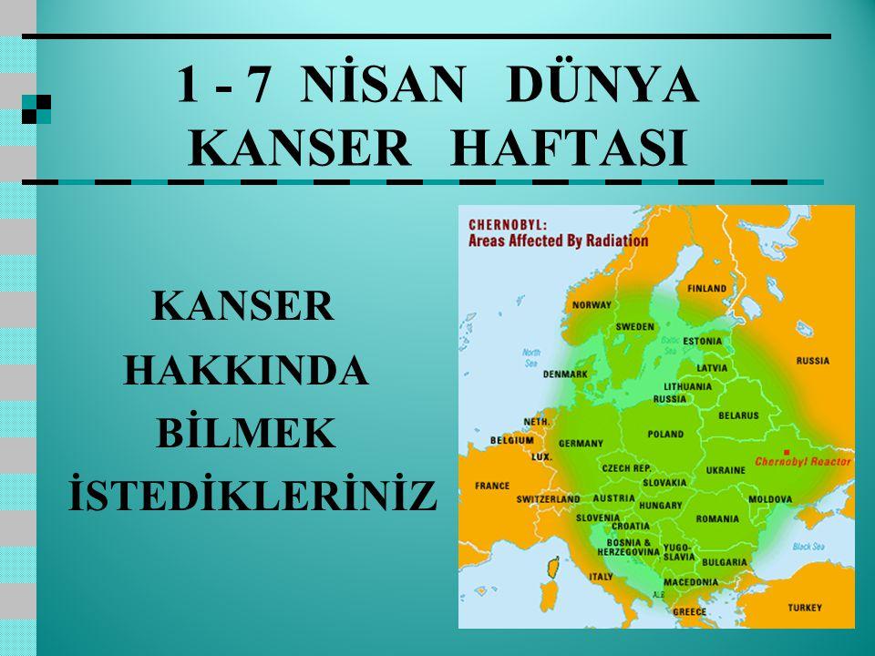 1 - 7 NİSAN DÜNYA KANSER HAFTASI KANSER HAKKINDA BİLMEK İSTEDİKLERİNİZ