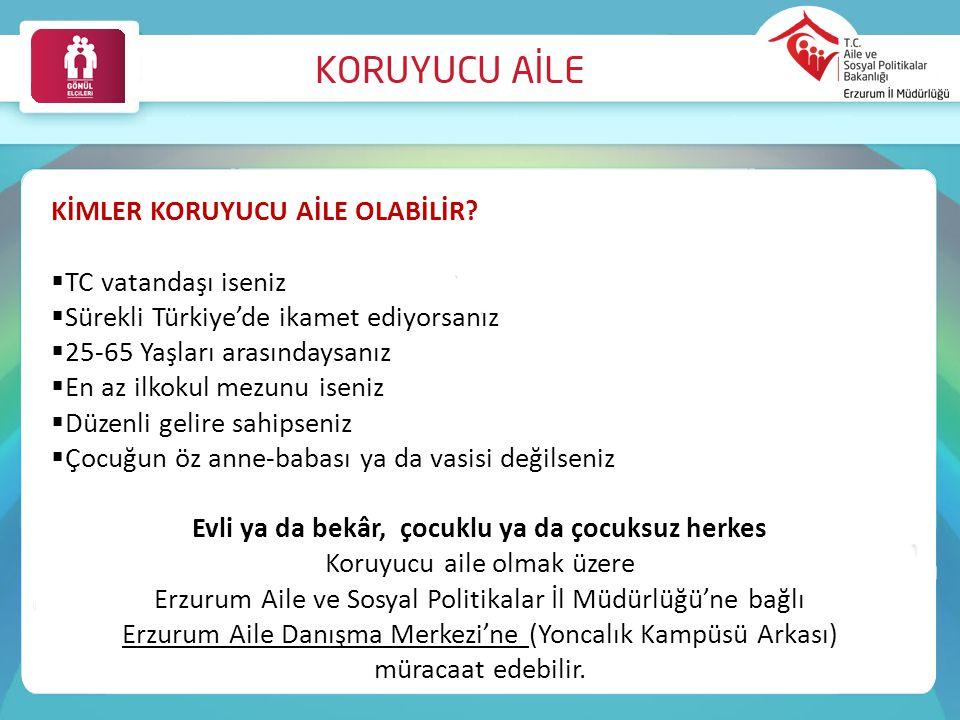 KİMLER KORUYUCU AİLE OLABİLİR?  TC vatandaşı iseniz  Sürekli Türkiye'de ikamet ediyorsanız  25-65 Yaşları arasındaysanız  En az ilkokul mezunu ise