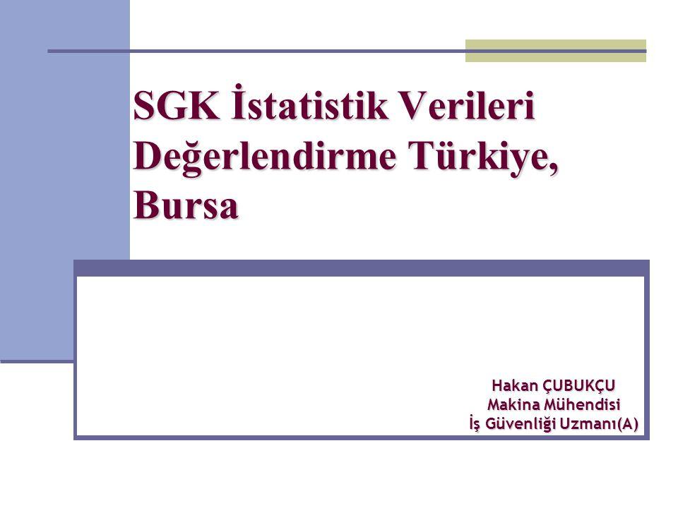 SGK İstatistik Verileri Değerlendirme Türkiye, Bursa Hakan ÇUBUKÇU Makina Mühendisi İş Güvenliği Uzmanı(A)
