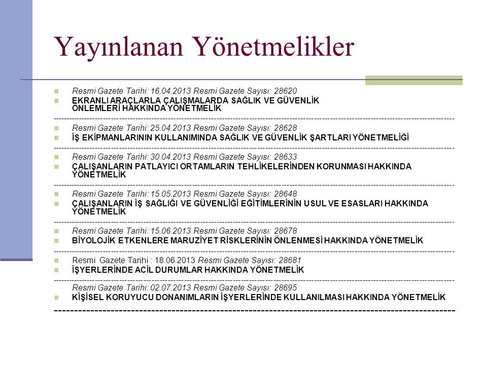 Yayınlanan Yönetmelikler  Resmi Gazete Tarihi: 16.04.2013 Resmi Gazete Sayısı: 28620  EKRANLI ARAÇLARLA ÇALIŞMALARDA SAĞLIK VE GÜVENLİK ÖNLEMLERİ HA