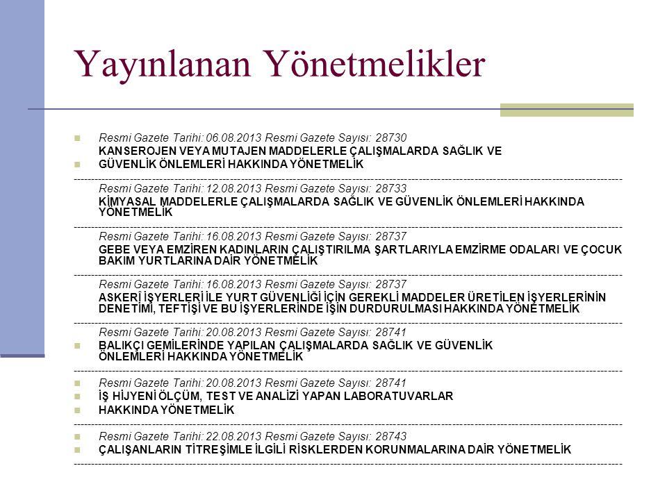 Yayınlanan Yönetmelikler  Resmi Gazete Tarihi: 06.08.2013 Resmi Gazete Sayısı: 28730 KANSEROJEN VEYA MUTAJEN MADDELERLE ÇALIŞMALARDA SAĞLIK VE  GÜVE
