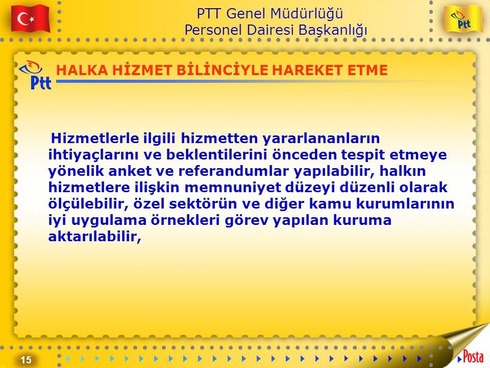 15 PTT Genel Müdürlüğü Personel Dairesi Başkanlığı HALKA HİZMET BİLİNCİYLE HAREKET ETME Hizmetlerle ilgili hizmetten yararlananların ihtiyaçlarını ve
