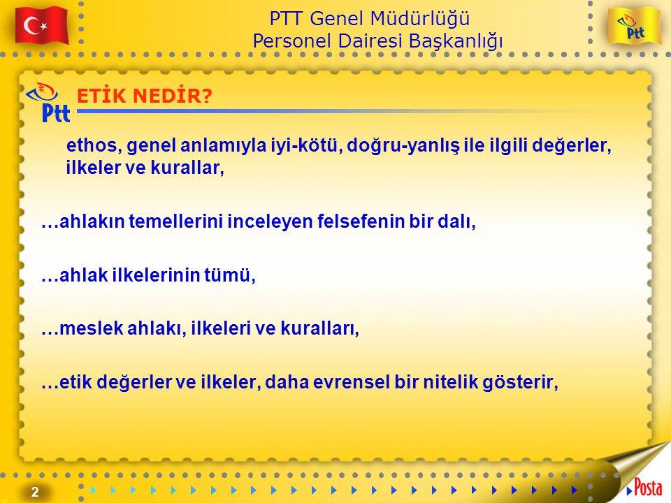 2 PTT Genel Müdürlüğü Personel Dairesi Başkanlığı ETİK NEDİR? ethos, genel anlamıyla iyi-kötü, doğru-yanlış ile ilgili değerler, ilkeler ve kurallar,