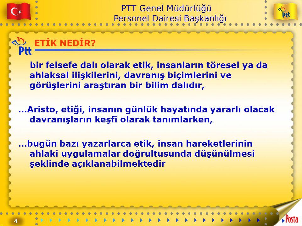 4 PTT Genel Müdürlüğü Personel Dairesi Başkanlığı ETİK NEDİR? bir felsefe dalı olarak etik, insanların töresel ya da ahlaksal ilişkilerini, davranış b