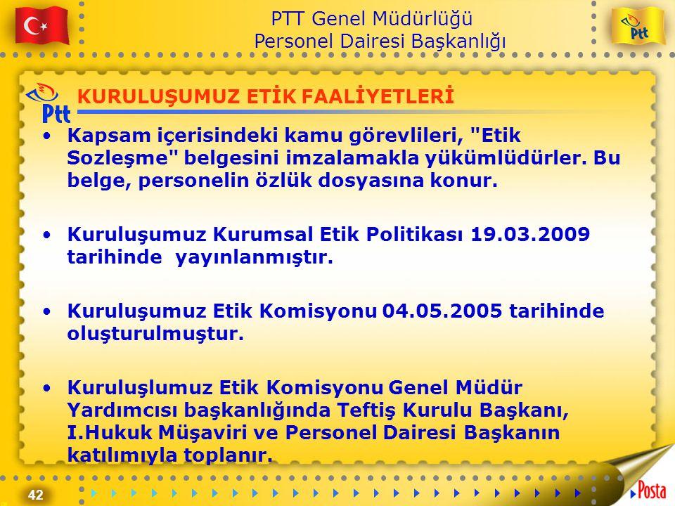 42 PTT Genel Müdürlüğü Personel Dairesi Başkanlığı KURULUŞUMUZ ETİK FAALİYETLERİ •Kapsam içerisindeki kamu görevlileri,