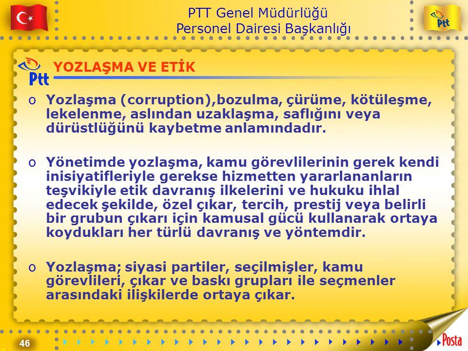 46 PTT Genel Müdürlüğü Personel Dairesi Başkanlığı YOZLAŞMA VE ETİK oYozlaşma (corruption),bozulma, çürüme, kötüleşme, lekelenme, aslından uzaklaşma,