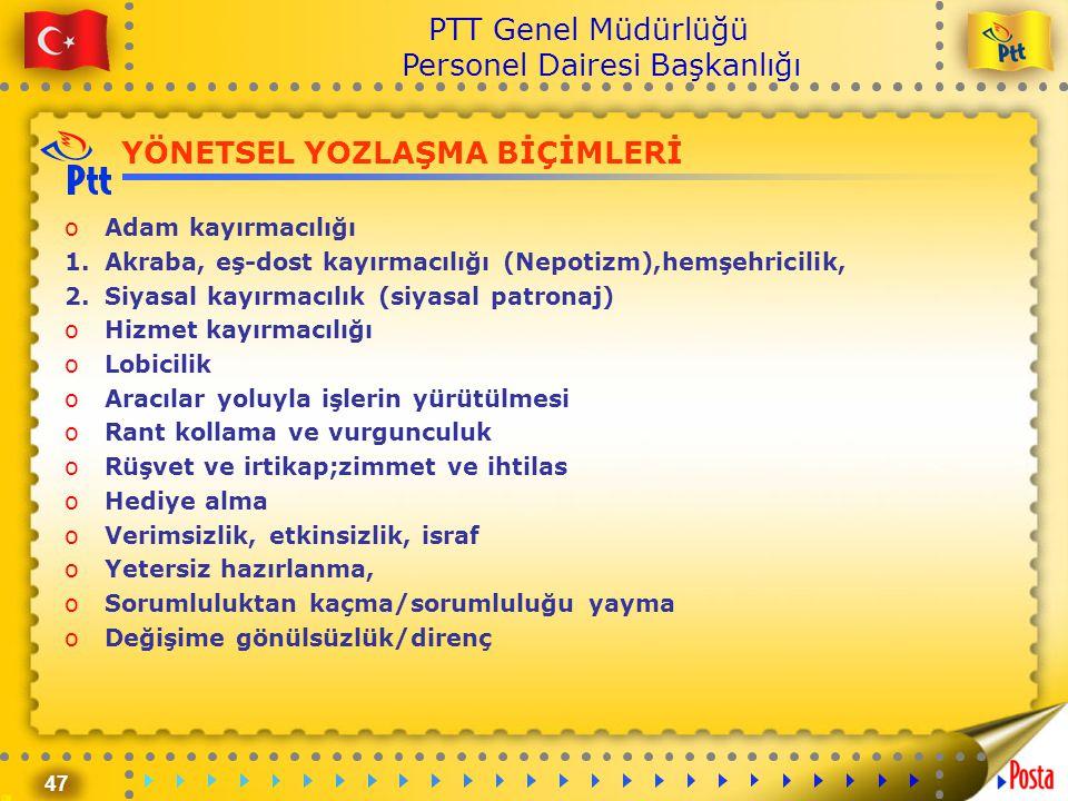 47 PTT Genel Müdürlüğü Personel Dairesi Başkanlığı YÖNETSEL YOZLAŞMA BİÇİMLERİ oAdam kayırmacılığı 1.Akraba, eş-dost kayırmacılığı (Nepotizm),hemşehri
