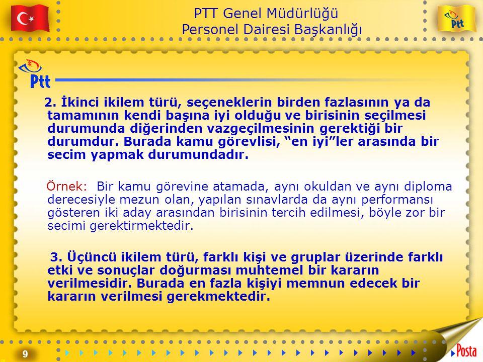 10 PTT Genel Müdürlüğü Personel Dairesi Başkanlığı 4.