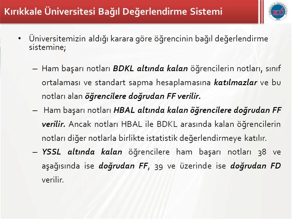 Kırıkkale Üniversitesi Bağıl Değerlendirme Sistemi • Üniversitemizin aldığı karara göre öğrencinin bağıl değerlendirme sistemine; – Ham başarı notları