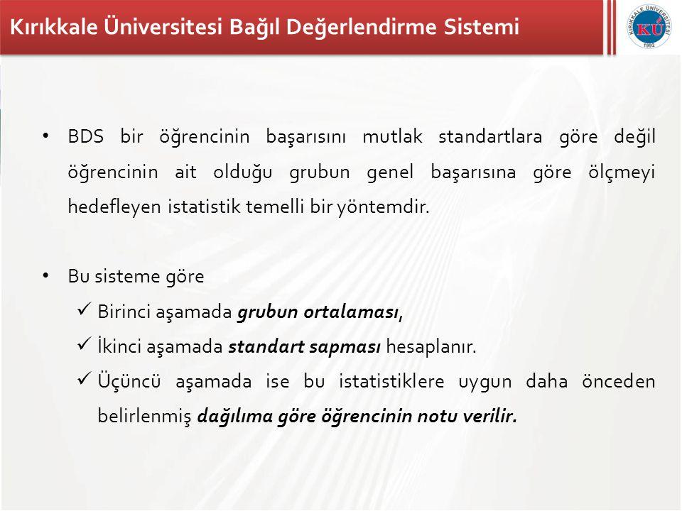 Kırıkkale Üniversitesi Bağıl Değerlendirme Sistemi • BDS bir öğrencinin başarısını mutlak standartlara göre değil öğrencinin ait olduğu grubun genel b