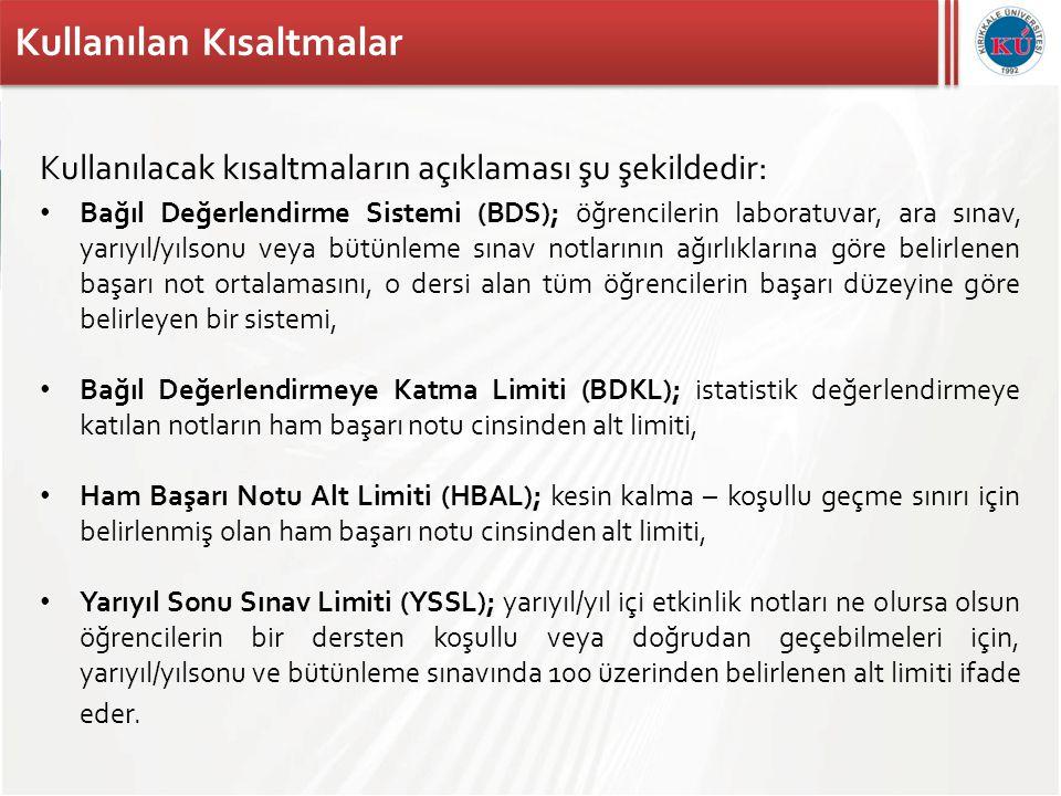 Kırıkkale Üniversitesi Bağıl Değerlendirme Sistemi • Bağıl değerlendirme sistemi, bağıl değerlendirmeye katılmaya hak kazanan öğrenci sayısı 30 ve üzerinde ise uygulanır.