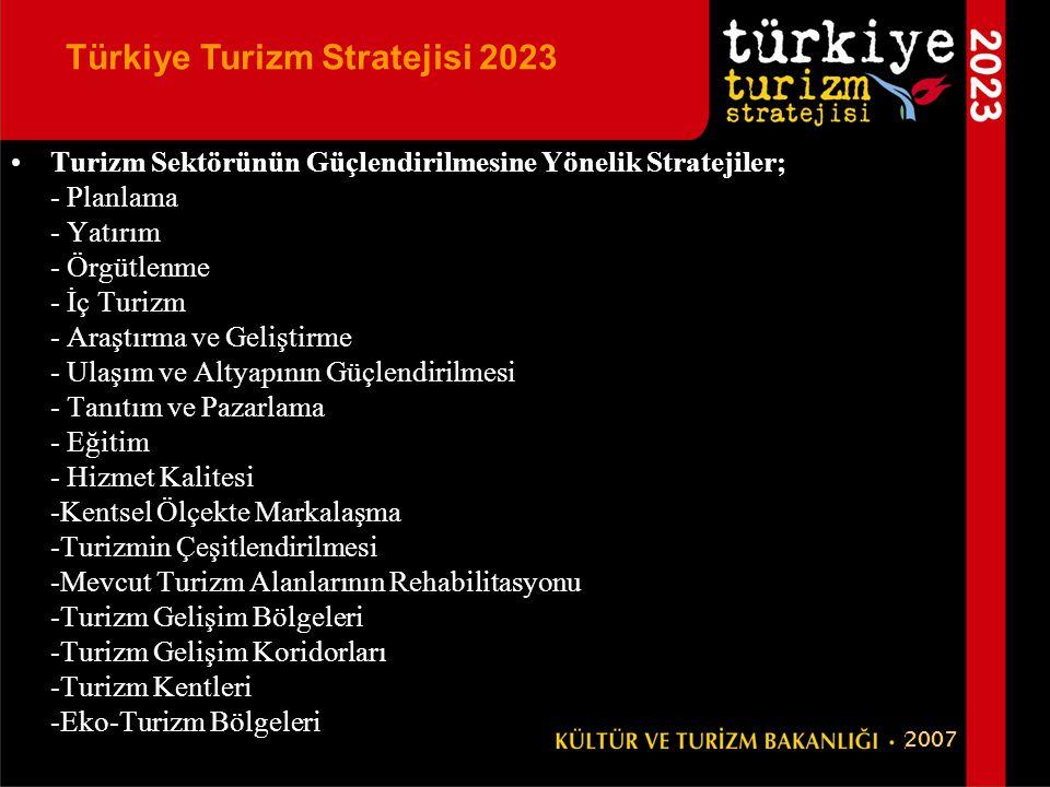 •Turizm Sektörünün Güçlendirilmesine Yönelik Stratejiler; - Planlama - Yatırım - Örgütlenme - İç Turizm - Araştırma ve Geliştirme - Ulaşım ve Altyapın