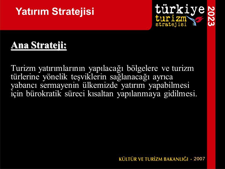 Ana Strateji: Turizm yatırımlarının yapılacağı bölgelere ve turizm türlerine yönelik teşviklerin sağlanacağı ayrıca yabancı sermayenin ülkemizde yatır