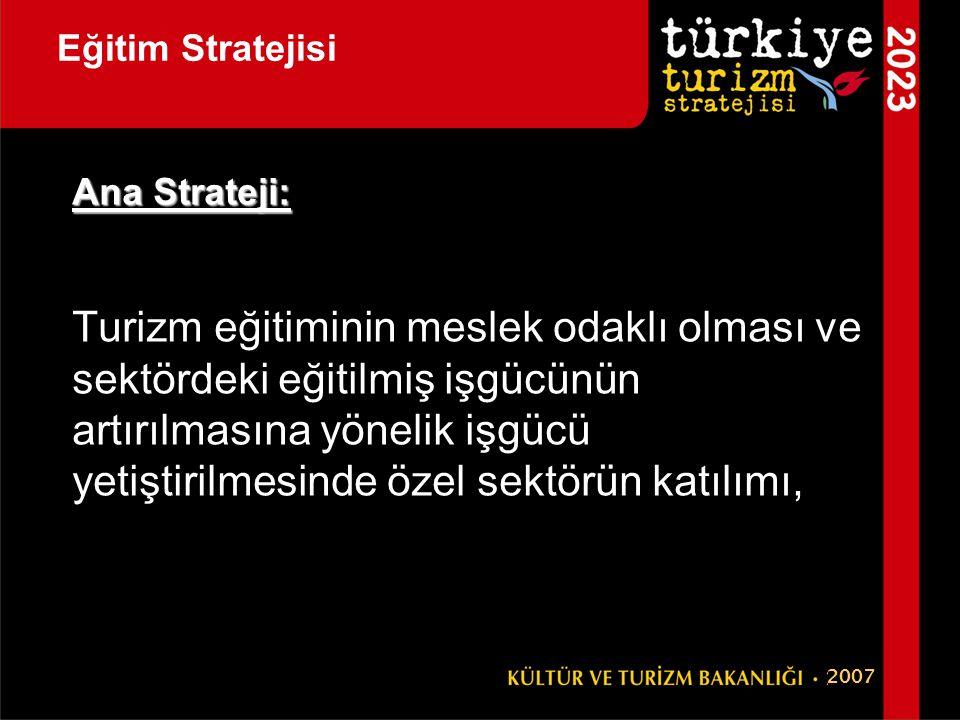 Eğitim Stratejisi Ana Strateji: Turizm eğitiminin meslek odaklı olması ve sektördeki eğitilmiş işgücünün artırılmasına yönelik işgücü yetiştirilmesind