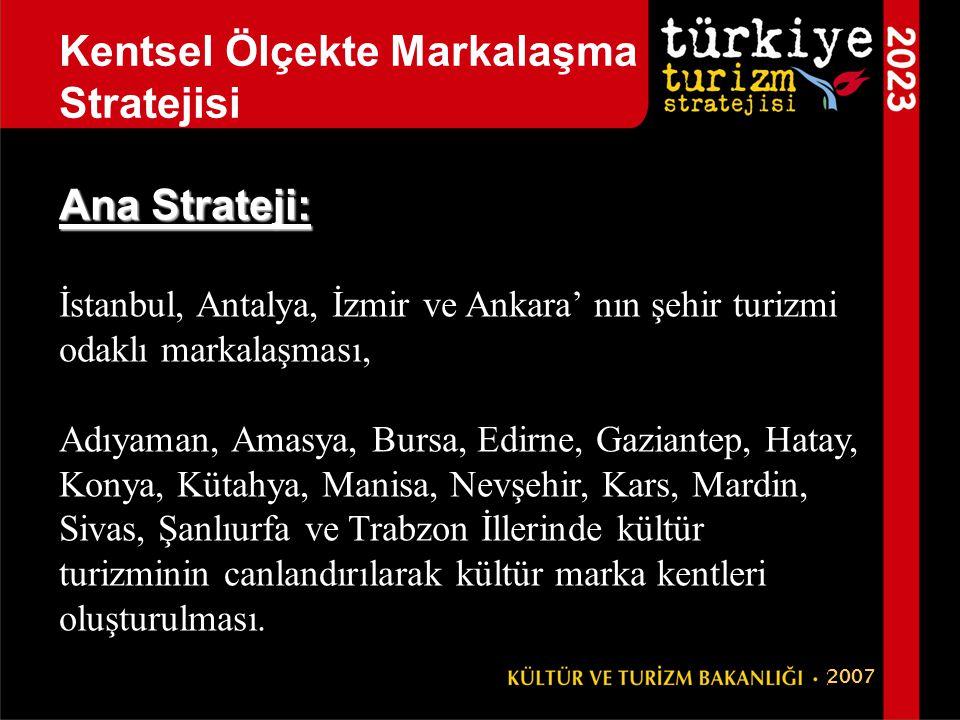 Ana Strateji: İstanbul, Antalya, İzmir ve Ankara' nın şehir turizmi odaklı markalaşması, Adıyaman, Amasya, Bursa, Edirne, Gaziantep, Hatay, Konya, Küt
