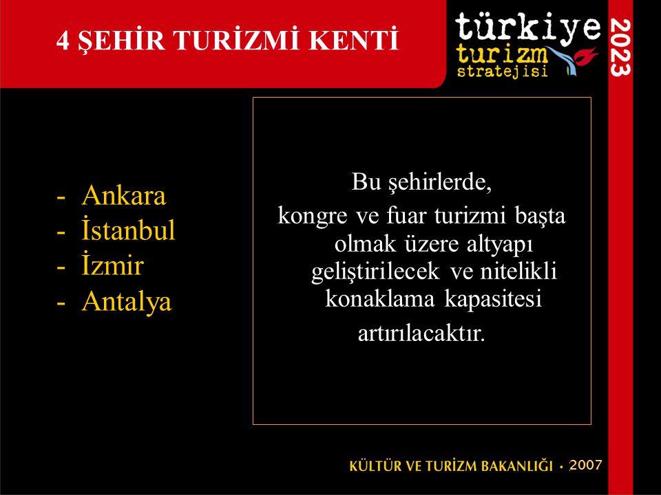 -Ankara -İstanbul -İzmir -Antalya 4 ŞEHİR TURİZMİ KENTİ Bu şehirlerde, kongre ve fuar turizmi başta olmak üzere altyapı geliştirilecek ve nitelikli ko
