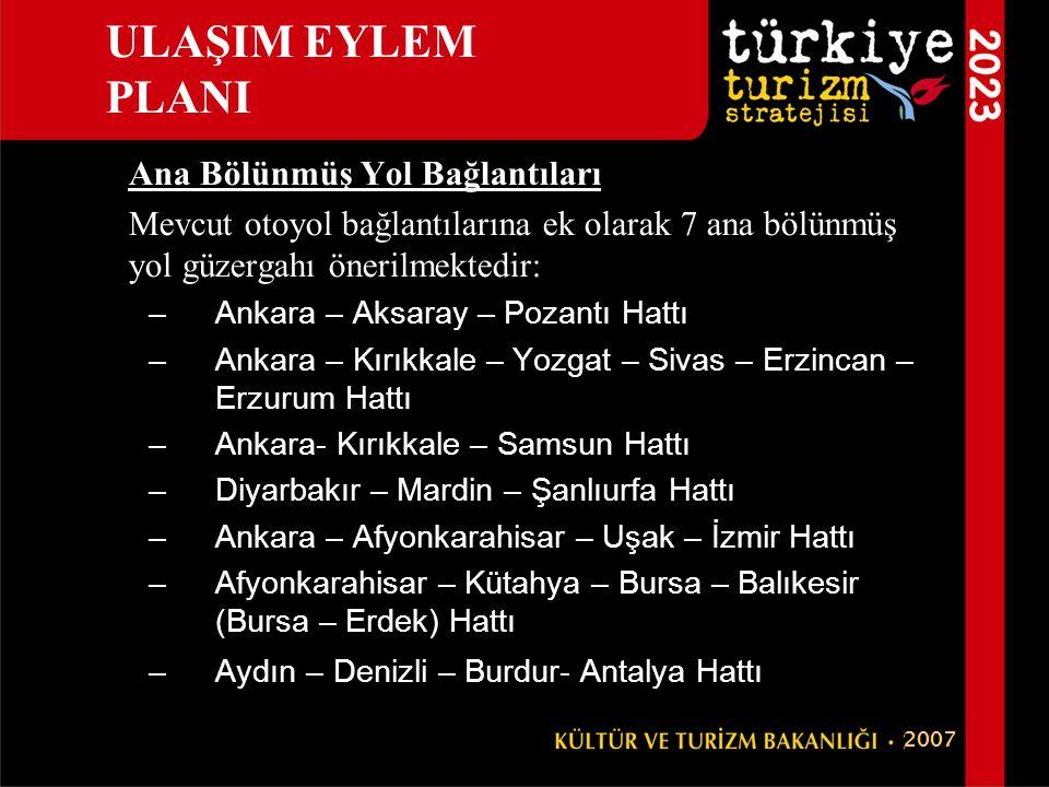 Ana Bölünmüş Yol Bağlantıları Mevcut otoyol bağlantılarına ek olarak 7 ana bölünmüş yol güzergahı önerilmektedir: –Ankara – Aksaray – Pozantı Hattı –A