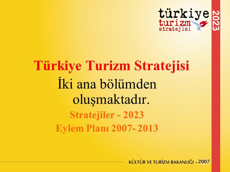 Türkiye Turizm Stratejisi İki ana bölümden oluşmaktadır. Stratejiler - 2023 Eylem Planı 2007- 2013 2007