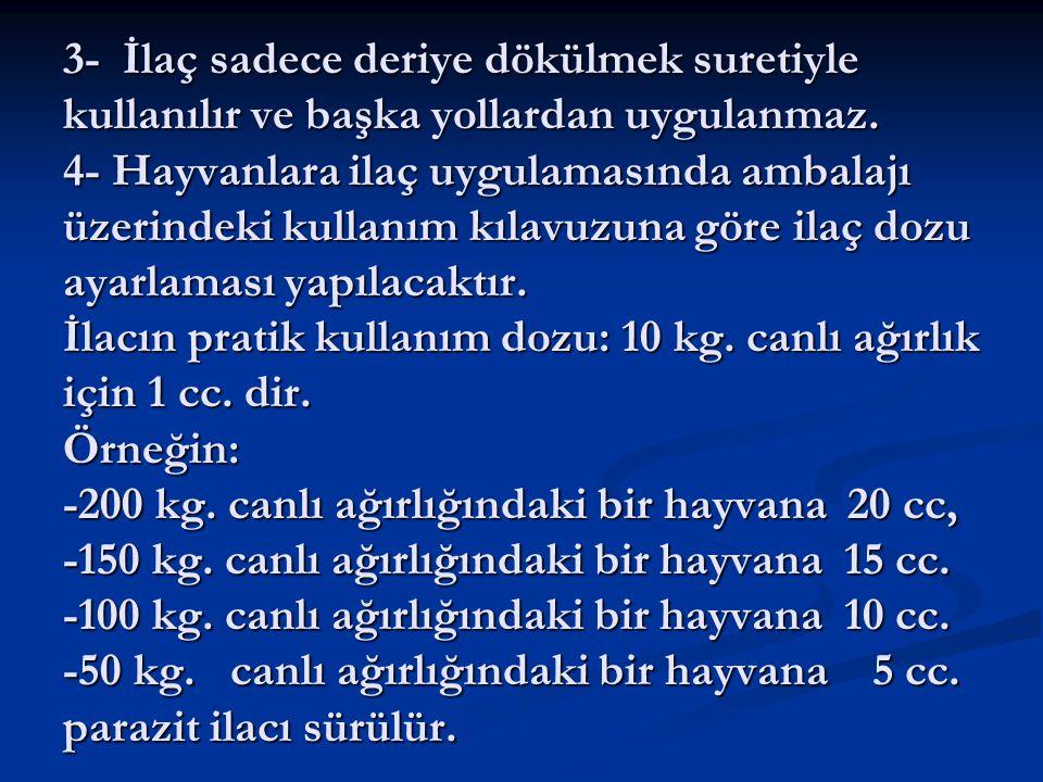 3- İlaç sadece deriye dökülmek suretiyle kullanılır ve başka yollardan uygulanmaz. 4- Hayvanlara ilaç uygulamasında ambalajı üzerindeki kullanım kılav