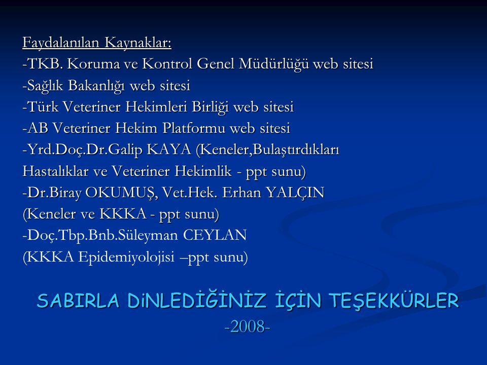 Faydalanılan Kaynaklar: -TKB. Koruma ve Kontrol Genel Müdürlüğü web sitesi -Sağlık Bakanlığı web sitesi -Türk Veteriner Hekimleri Birliği web sitesi -