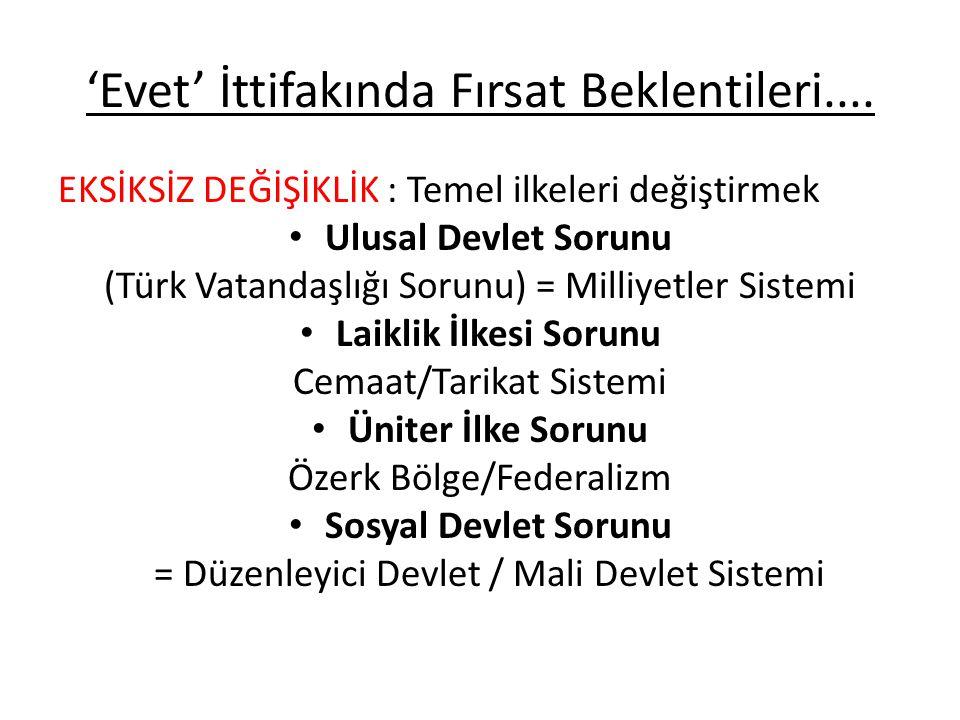 'Evet' İttifakında Fırsat Beklentileri.... EKSİKSİZ DEĞİŞİKLİK : Temel ilkeleri değiştirmek • Ulusal Devlet Sorunu (Türk Vatandaşlığı Sorunu) = Milliy