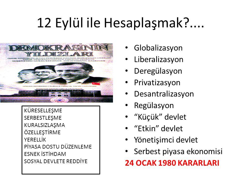 """12 Eylül ile Hesaplaşmak?.... • Globalizasyon • Liberalizasyon • Deregülasyon • Privatizasyon • Desantralizasyon • Regülasyon • """"Küçük"""" devlet • """"Etki"""