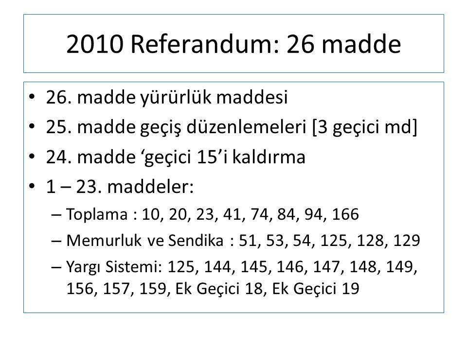 2010 Referandum: 26 madde • 26. madde yürürlük maddesi • 25. madde geçiş düzenlemeleri [3 geçici md] • 24. madde 'geçici 15'i kaldırma • 1 – 23. madde