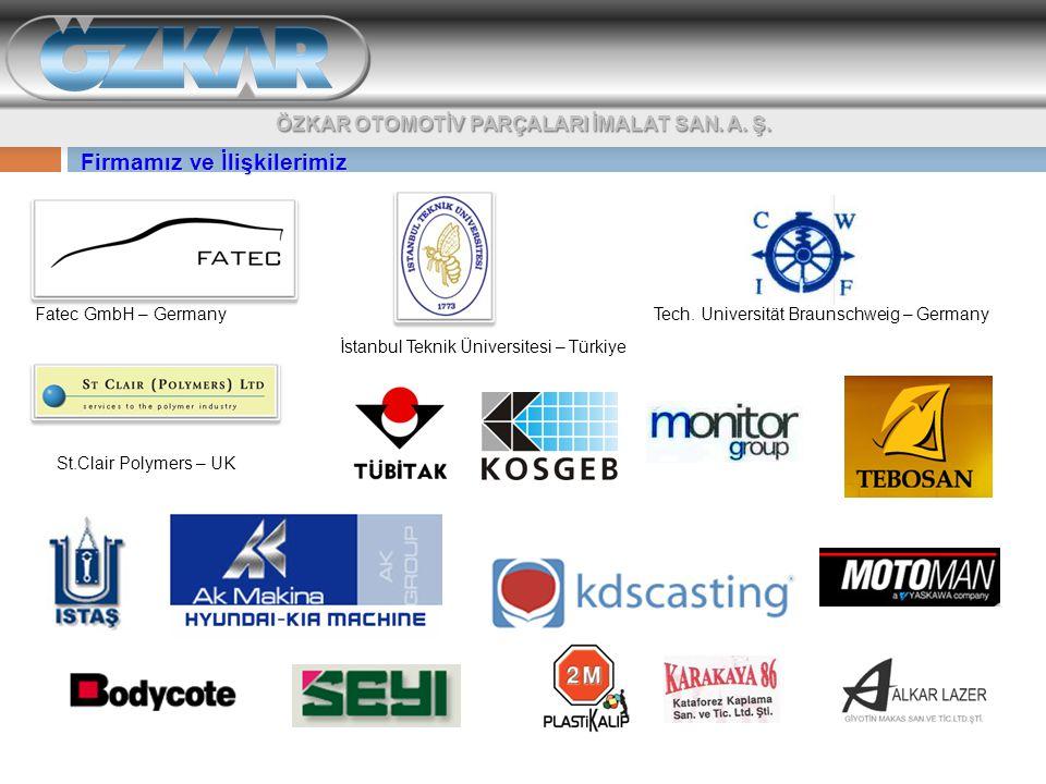 Fatec GmbH – Germany Tech. Universität Braunschweig – Germany İstanbul Teknik Üniversitesi – Türkiye St.Clair Polymers – UK Firmamız ve İlişkilerimiz