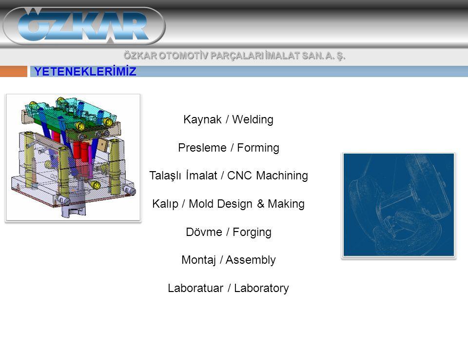 Kaynak / Welding Presleme / Forming Talaşlı İmalat / CNC Machining Kalıp / Mold Design & Making Dövme / Forging Montaj / Assembly Laboratuar / Laborat