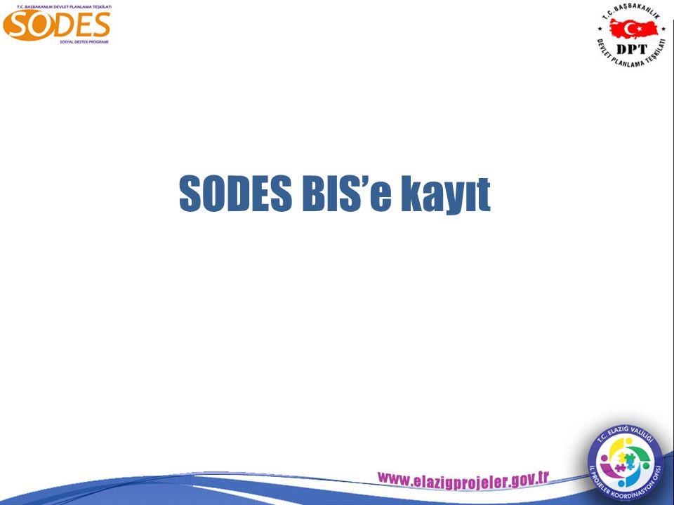 SODES BIS'e kayıt
