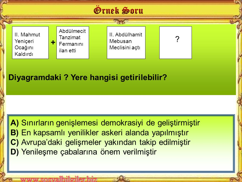 A)Medrese sayısının çoğaltılması B)Askeri okulların açılması C)Avrupa'ya öğrencilerin gönderilmesi D)İlköğretimin zorunlu hale getirilmesi Sultan II.