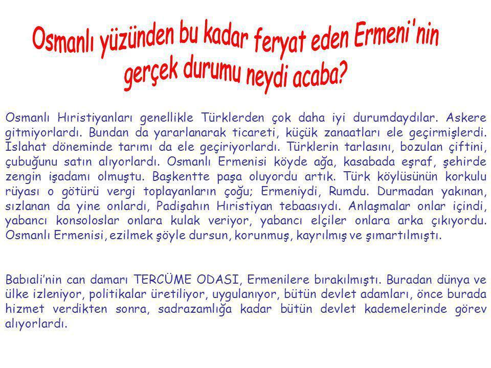 Osmanlı Hıristiyanları genellikle Türklerden çok daha iyi durumdaydılar. Askere gitmiyorlardı. Bundan da yararlanarak ticareti, küçük zanaatları ele g