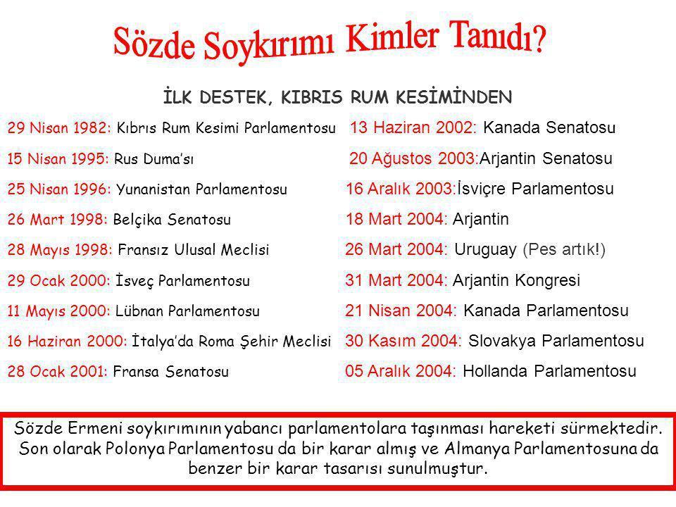 İLK DESTEK, KIBRIS RUM KESİMİNDEN 29 Nisan 1982: Kıbrıs Rum Kesimi Parlamentosu 13 Haziran 2002: Kanada Senatos u 15 Nisan 1995: Rus Duma'sı 20 Ağustos 2003:Arjantin Senatosu 25 Nisan 1996: Yunanistan Parlamentosu 16 Aralık 2003:İsviçre Parlamentosu 26 Mart 1998: Belçika Senatosu 18 Mart 2004: Arjantin 28 Mayıs 1998: Fransız Ulusal Meclisi 26 Mart 2004: Uruguay (Pes artık!) 29 Ocak 2000: İsveç Parlamentosu 31 Mart 2004: Arjantin Kongresi 11 Mayıs 2000: Lübnan Parlamentosu 21 Nisan 2004: Kanada Parlamentosu 16 Haziran 2000: İtalya'da Roma Şehir Meclisi 30 Kasım 2004: Slovakya Parlamentosu 28 Ocak 2001: Fransa Senatosu 05 Aralık 2004: Hollanda Parlamentosu Sözde Ermeni soykırımının yabancı parlamentolara taşınması hareketi sürmektedir.