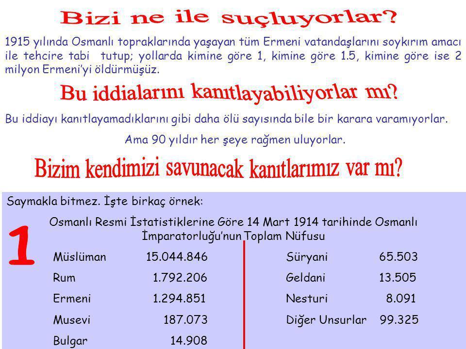 1915 yılında Osmanlı topraklarında yaşayan tüm Ermeni vatandaşlarını soykırım amacı ile tehcire tabi tutup; yollarda kimine göre 1, kimine göre 1.5, k