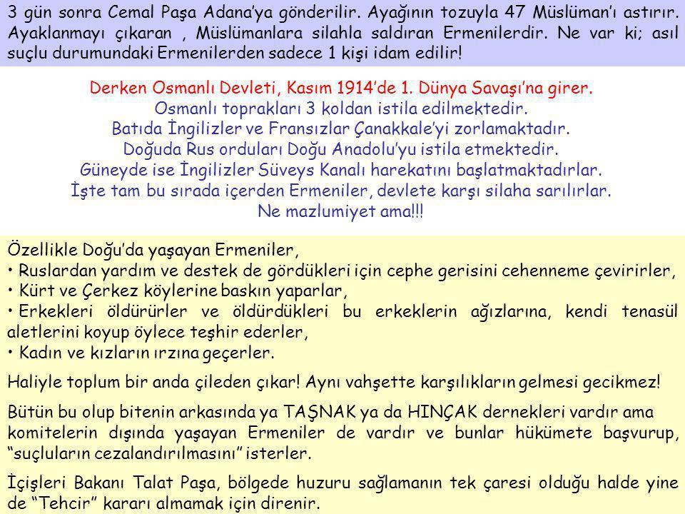 3 gün sonra Cemal Paşa Adana'ya gönderilir. Ayağının tozuyla 47 Müslüman'ı astırır. Ayaklanmayı çıkaran, Müslümanlara silahla saldıran Ermenilerdir. N