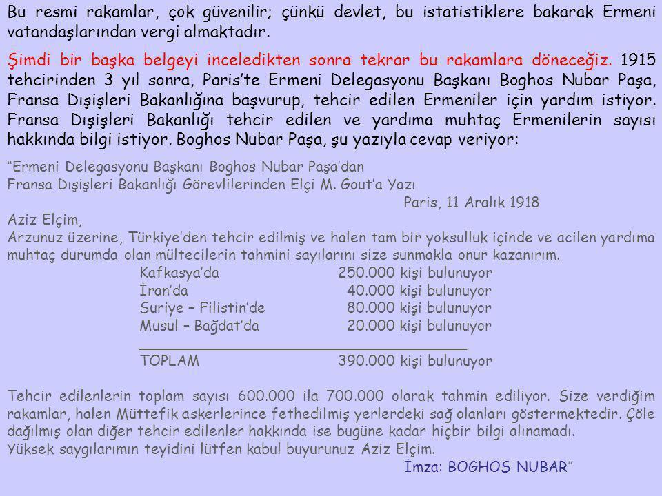 Bu resmi rakamlar, çok güvenilir; çünkü devlet, bu istatistiklere bakarak Ermeni vatandaşlarından vergi almaktadır. Şimdi bir başka belgeyi inceledikt