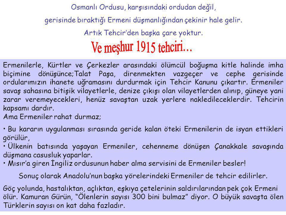 Osmanlı Ordusu, karşısındaki ordudan değil, gerisinde bıraktığı Ermeni düşmanlığından çekinir hale gelir. Artık Tehcir'den başka çare yoktur. Ermenile