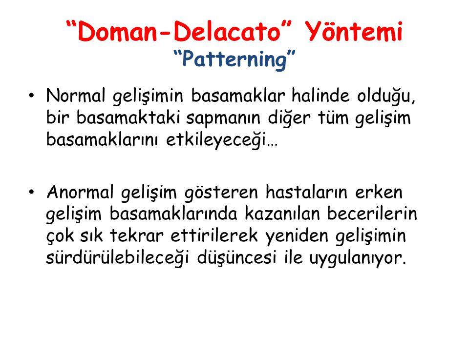 """""""Doman-Delacato"""" Yöntemi """"Patterning"""" • Normal gelişimin basamaklar halinde olduğu, bir basamaktaki sapmanın diğer tüm gelişim basamaklarını etkileyec"""