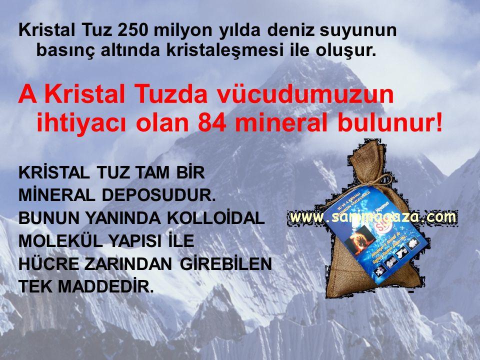 Kristal Tuz 250 milyon yılda deniz suyunun basınç altında kristaleşmesi ile oluşur.