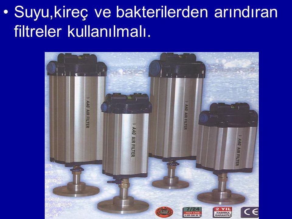 •Suyu,kireç ve bakterilerden arındıran filtreler kullanılmalı.