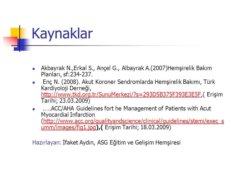 Kaynaklar  Akbayrak N.,Erkal S., Ançel G., Albayrak A.(2007)Hemşirelik Bakım Planları, sf:234-237.  Enç N. (2008). Akut Koroner Sendromlarda Hemşire