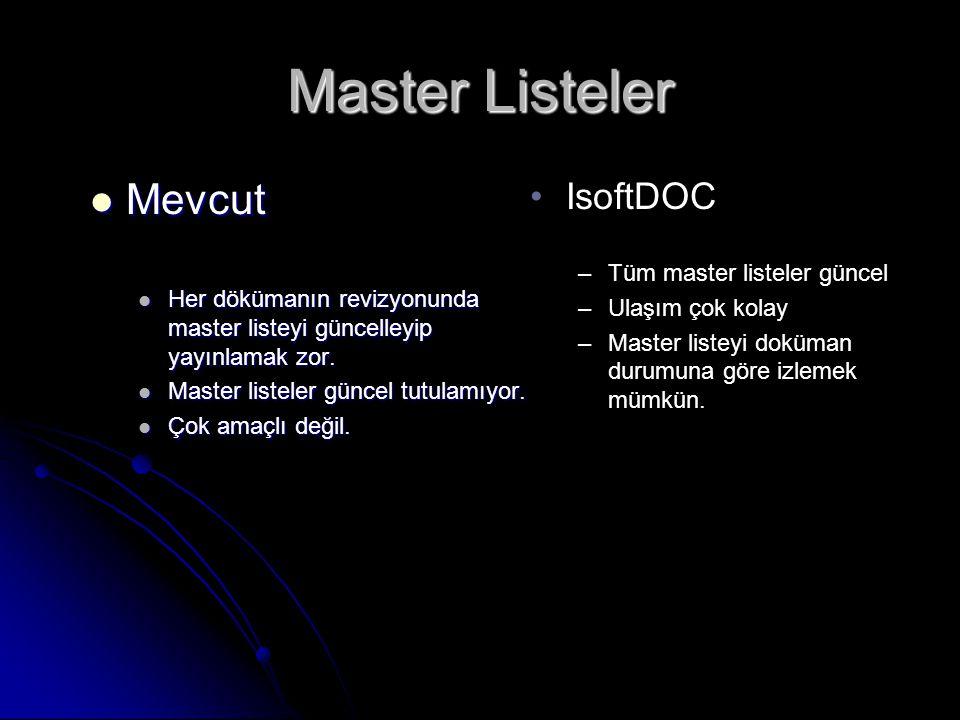 Master Listeler •IsoftDOC –Tüm master listeler güncel –Ulaşım çok kolay –Master listeyi doküman durumuna göre izlemek mümkün.  Mevcut  Her dökümanın