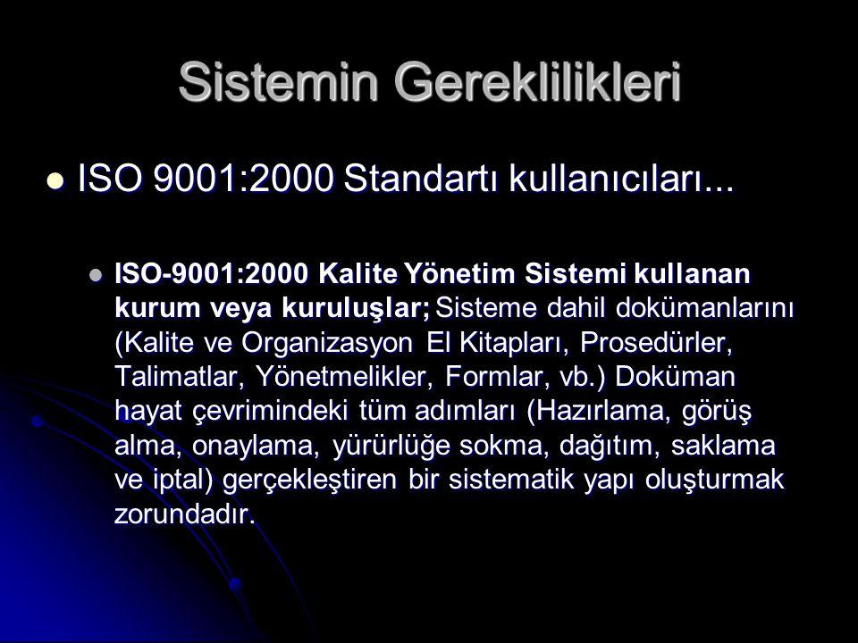 Sistemin Gereklilikleri  ISO 9001:2000 Standartı kullanıcıları...  ISO-9001:2000 Kalite Yönetim Sistemi kullanan kurum veya kuruluşlar; Sisteme dahi