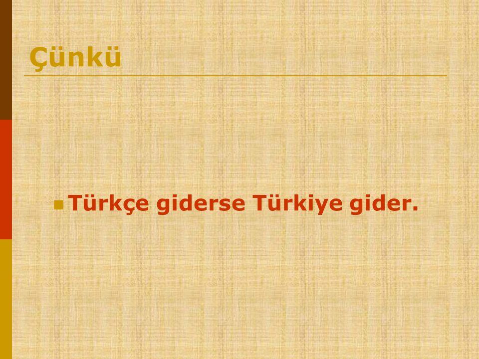 Çünkü  Türkçe giderse Türkiye gider.