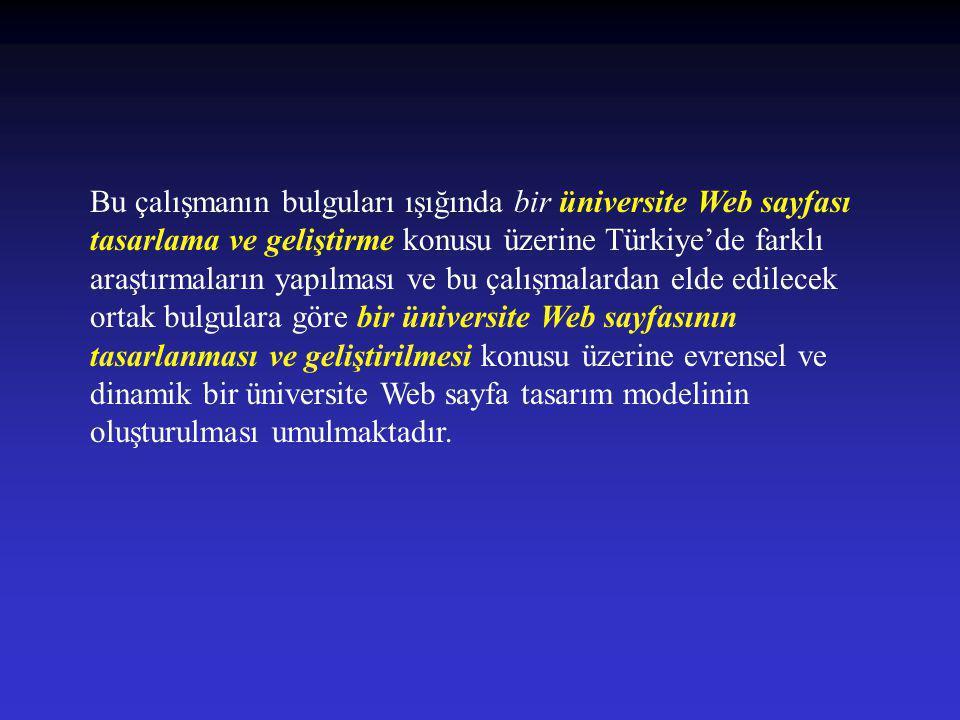 Bu çalışmanın bulguları ışığında bir üniversite Web sayfası tasarlama ve geliştirme konusu üzerine Türkiye'de farklı araştırmaların yapılması ve bu ça