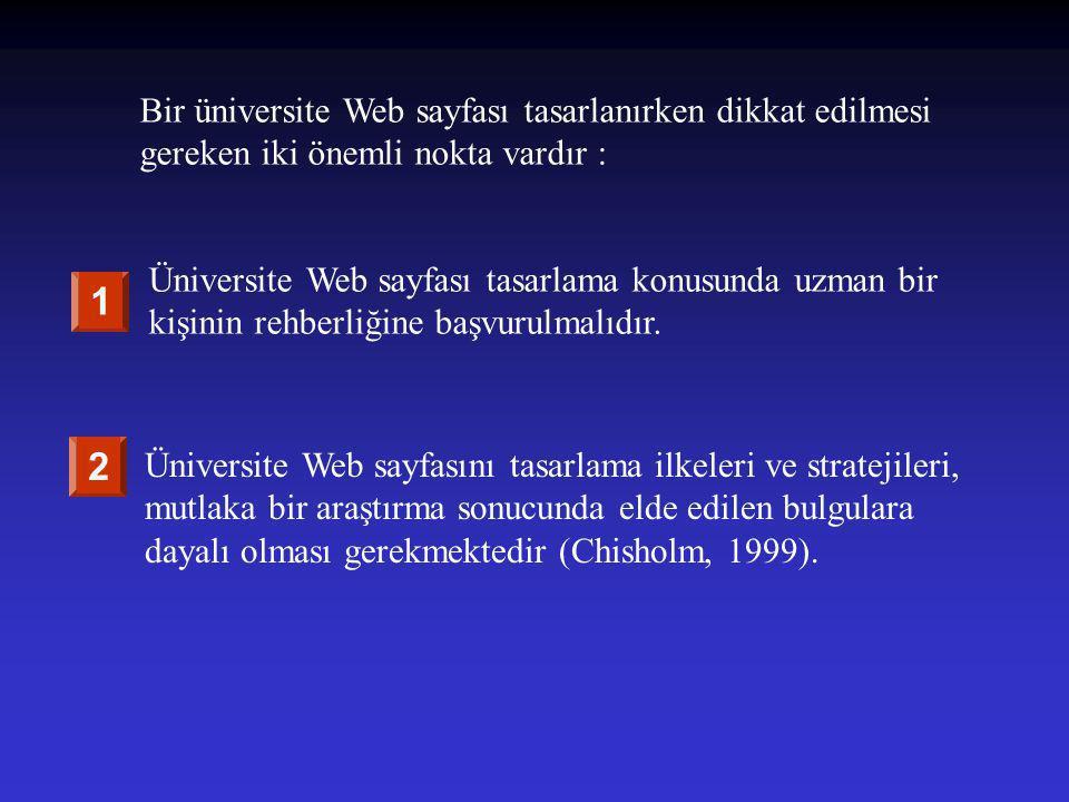 Bir üniversite Web sayfası tasarlanırken dikkat edilmesi gereken iki önemli nokta vardır : Üniversite Web sayfası tasarlama konusunda uzman bir kişini