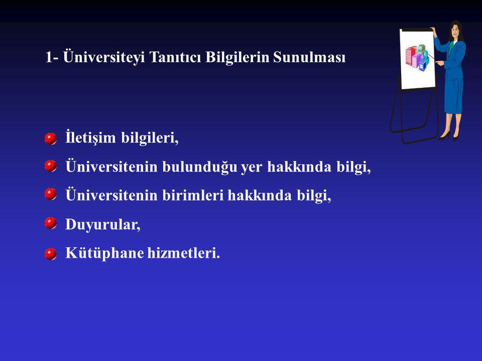 1- Üniversiteyi Tanıtıcı Bilgilerin Sunulması İletişim bilgileri, Üniversitenin bulunduğu yer hakkında bilgi, Üniversitenin birimleri hakkında bilgi,