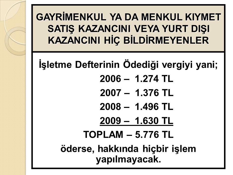 GAYRİMENKUL YA DA MENKUL KIYMET SATIŞ KAZANCINI VEYA YURT DIŞI KAZANCINI HİÇ BİLDİRMEYENLER İşletme Defterinin Ödediği vergiyi yani; 2006 – 1.274 TL 2007 – 1.376 TL 2008 – 1.496 TL 2009 – 1.630 TL TOPLAM – 5.776 TL öderse, hakkında hiçbir işlem yapılmayacak.