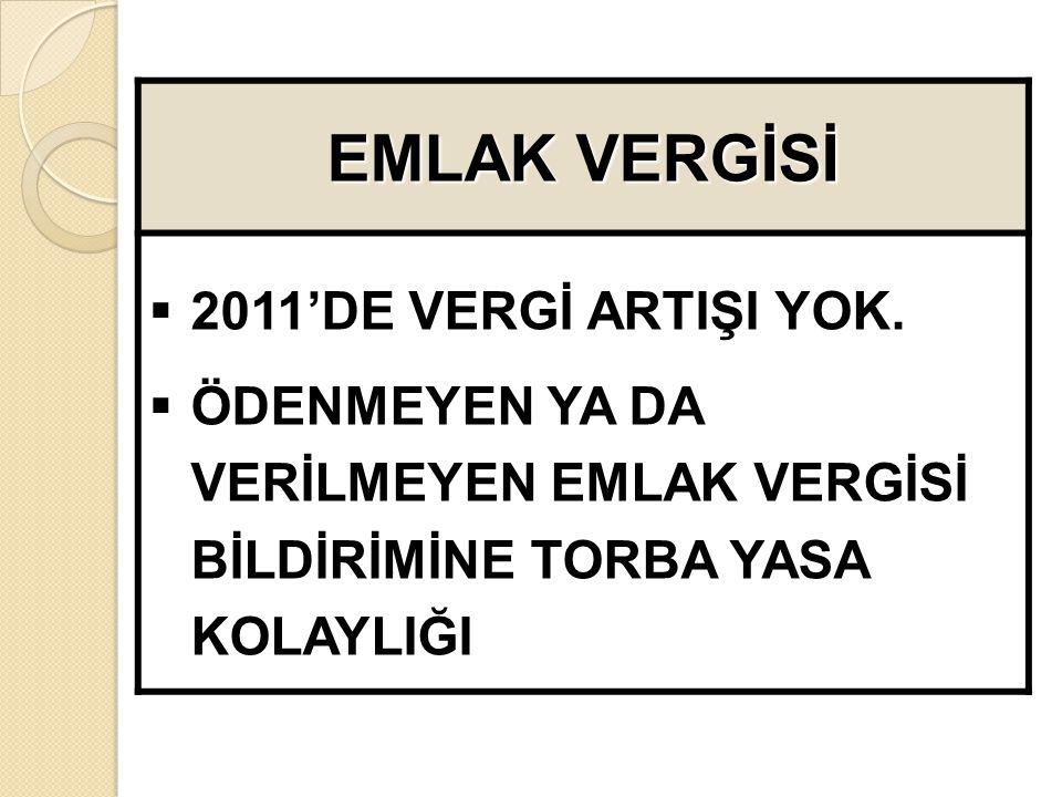 EMLAK VERGİSİ  2011'DE VERGİ ARTIŞI YOK.